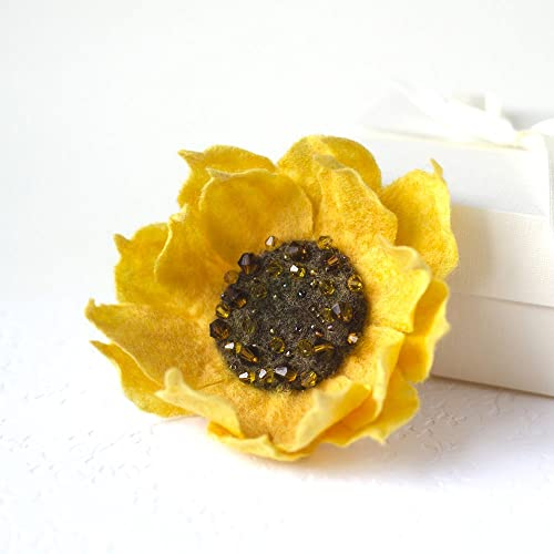 068353f371c Felted Sunflower Brooch Yellow pin Sunflower Jewelry Original jewelry for  Woman Statement brooch Gift for Mom Unique Mother's Day Gift Eco friendly  jewelry