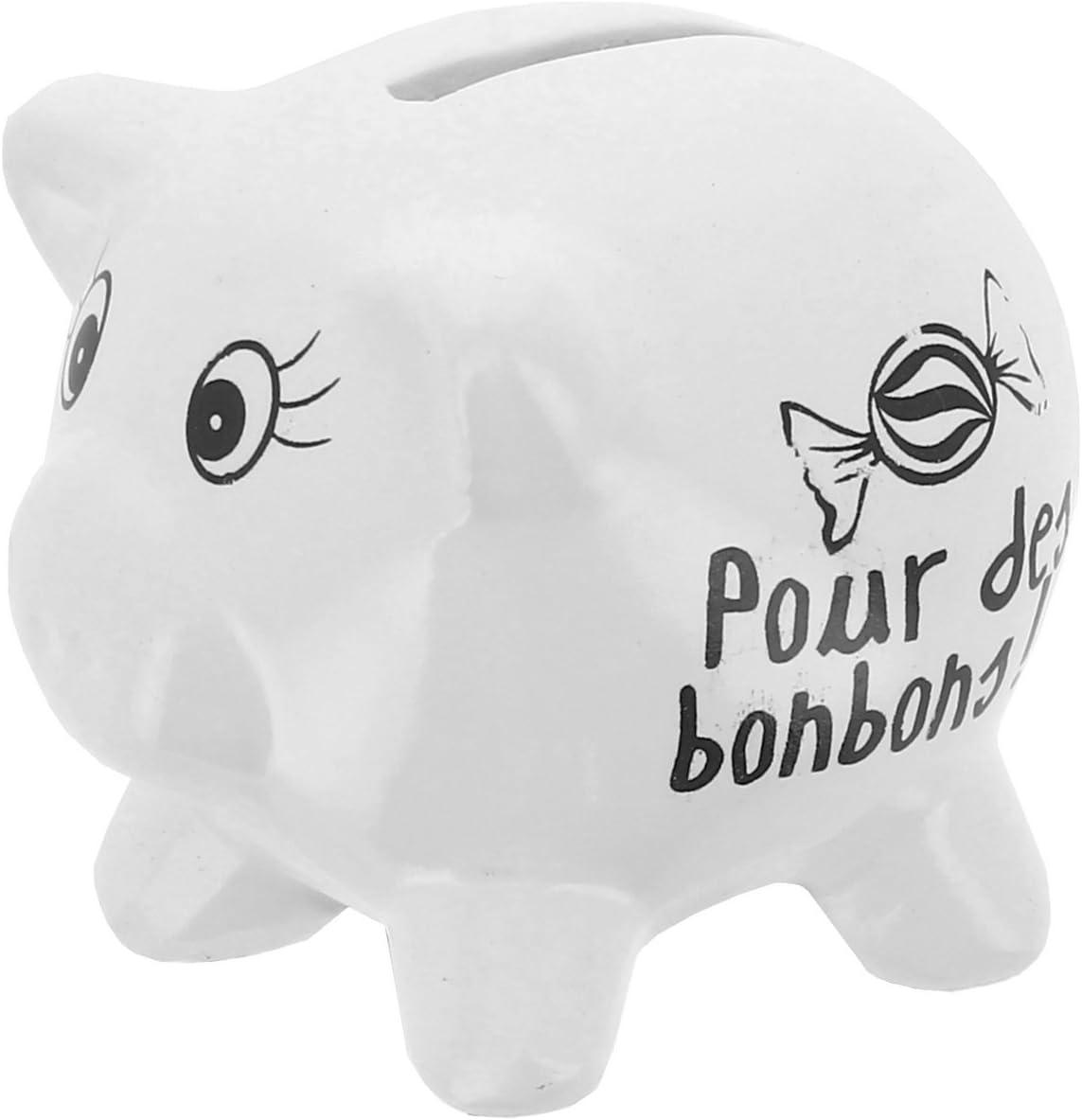 Tirelire en C/éramique Design Petit Cochon Mots Humour pour des Bonbons Blanc Promobo
