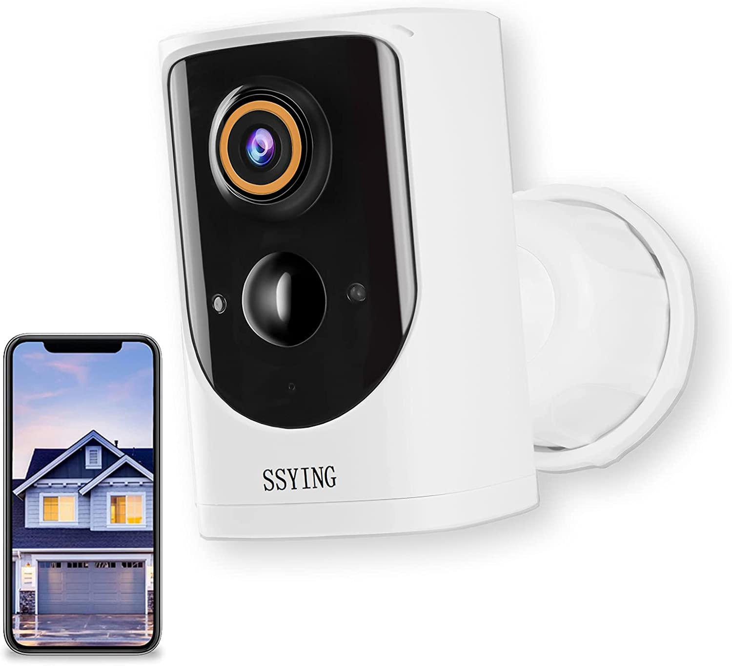 1080P Battery Home Security Camera System, Wire-Free Outdoor Security Camera System, Security Camera Outdoor Wireless WiFi, IP65 Waterproof, HD Night Vision,2-Way Audio(for iOS and Android) (White)