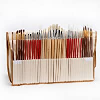 PIXNOR 38 Piece Paint Brushes Artist For Watercolor Oil Acrylic Painting With Canvas Holder