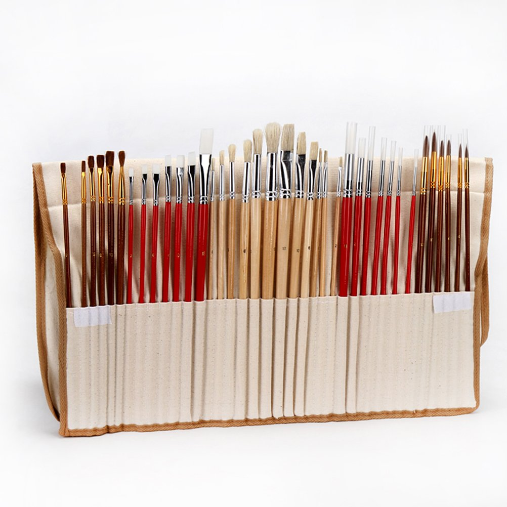 ROSENICE Art Brushes Paint Brush Set with Canvas Holder Synthetic Hair for Paiting 38Pcs by ROSENICE