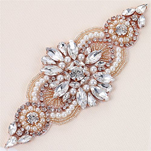 [Bridal Applique with Crystal Rhinestone Pearl Beaded Embellishments Sewing iron on Hot Fix for Wedding Belt Dress Sash - Rose] (Easy Diy Plus Size Halloween Costumes)