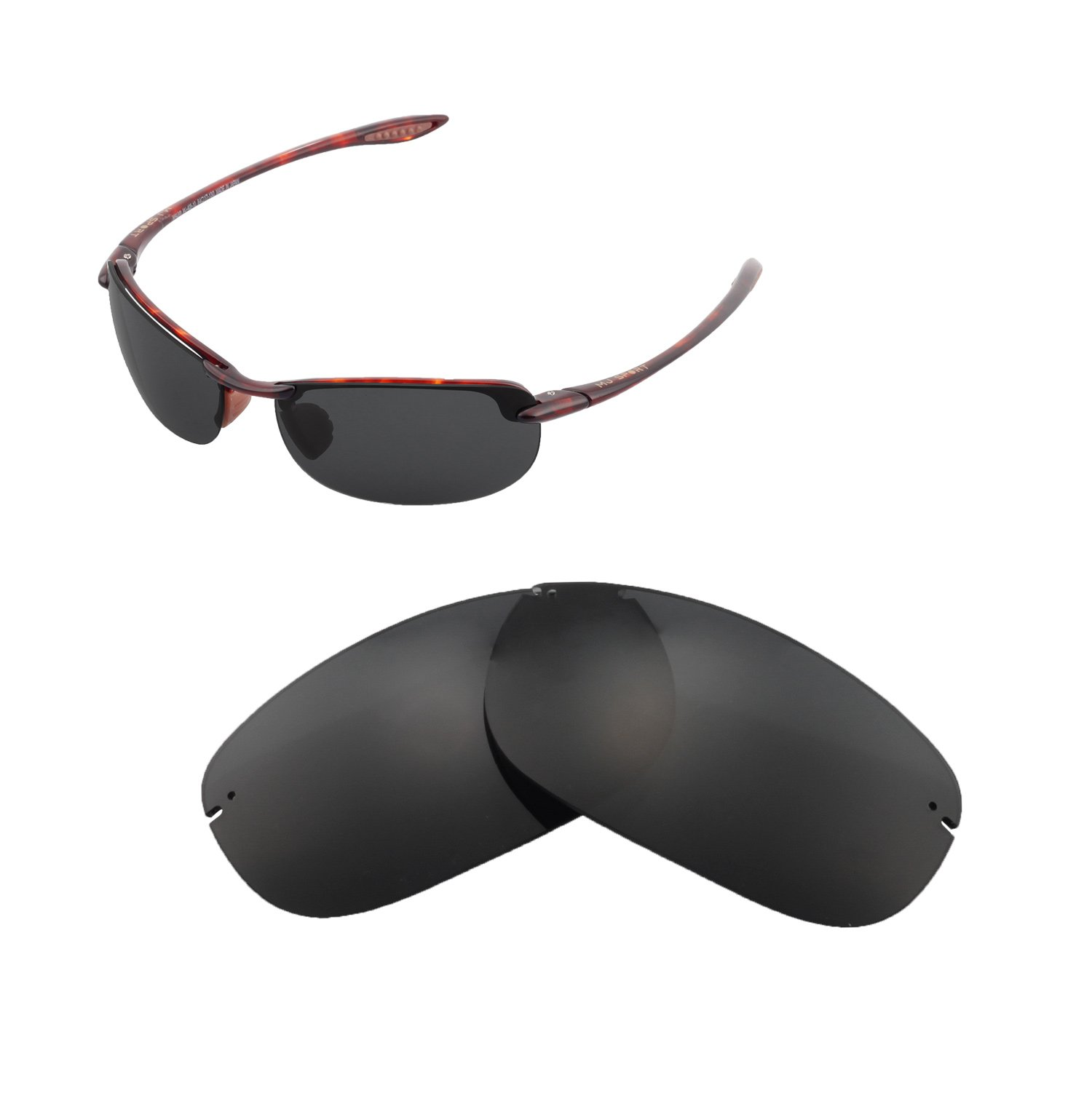 Walleva Replacement Lenses For Maui Jim Makaha Sunglasses - Multiple Options available (Black - Polarized) by Walleva