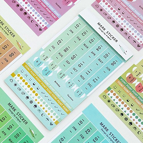 Chris.W 8Sheets Self-Stick Mini DIY Paper/PVC Monthly Calendar Index Tabs Reminder Stickers Flags for Appointment Book Events Diary Scrapbook Personal Planner (Multi-Color)