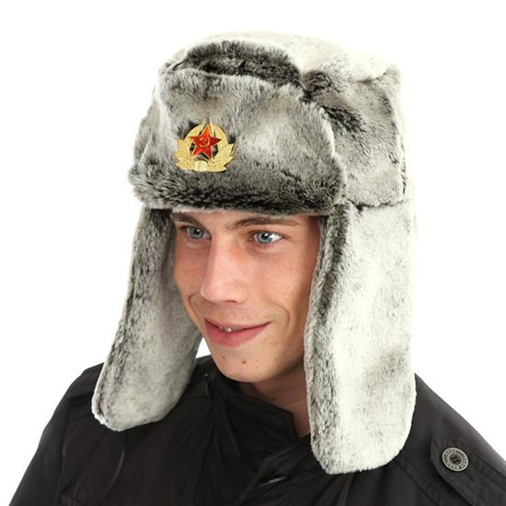Socks Uwear Mens Ladies Unisex Faux Fur Trapper with Russian Badge Winter Thermal Hat 59cm Silver