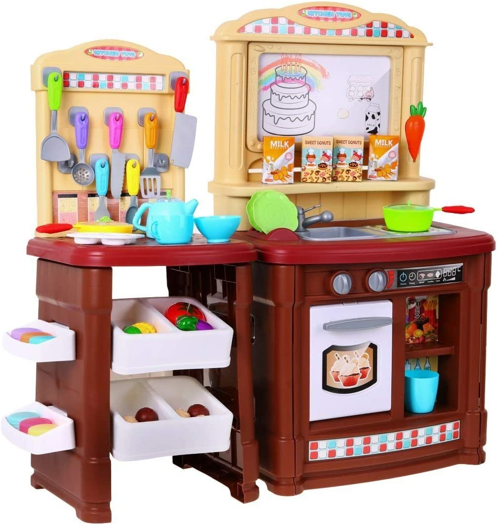 BSD Juego de Imitaci/ón Cocina para Ni/ños Grande Cocina de Juguete con Accesorios y Tablero de Dibujo Marr/ón