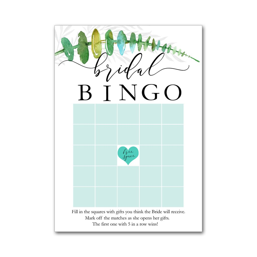 Bingo Game Cards for Bridal Wedding Showers with Watercolor Tropical Leaf Leaves Branch BBG8019