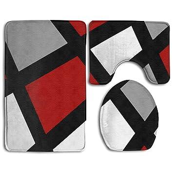 Amazoncom Ufashional Red Gray Black White Geometric Non Slip