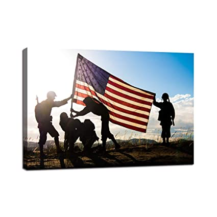 c93b50f18a11 Yatsen Bridge American Flag Background Military Family Canvas Wall Art on USA  Painting Modern Posters and