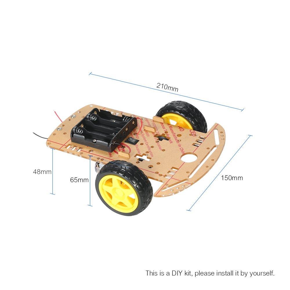 Rueda robot chasis para Arduino,ruedas robot Chassis coche 2WD con Velocidad codificador 1:48 Motor Kit