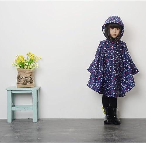 EZOM超軽量かわいいキッズレインコート撥水加工レインウェアポンチョかっぱ子供男女兼用収納袋付き(M,ブルー)