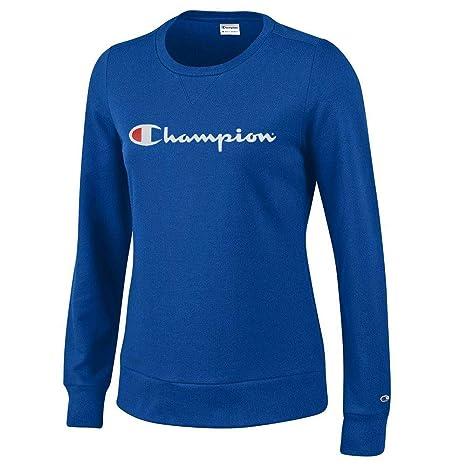72a3865208de Amazon.com  Champion Script Logo Women s (Royal) University Crew Fleece   Sports   Outdoors