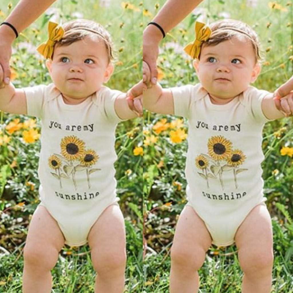 Watopi Pagliaccetto Neonata Estivo Cotone Stampa di Lettere Girasole Bambina Tutina Manica Corta Pagliaccetto Beb/è 0-24 Mesi