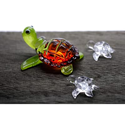 ChangThai Design 3 Pcs Aquarium Brown with Cute Baby Turtle HandBowl Glass Dollhouse Miniatures Decoration Figurine Collection: Home & Kitchen