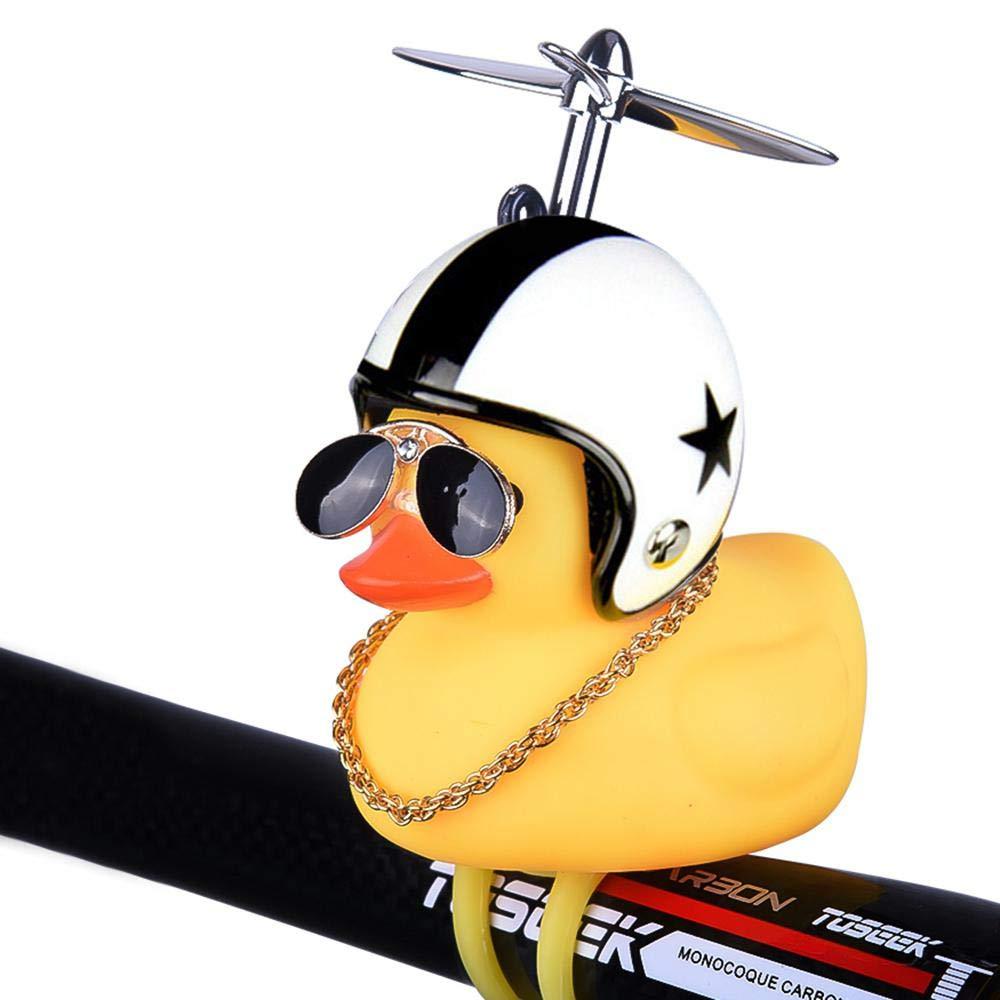 AUOKER dise/ño de Pato Timbre de Bicicleta con Luces LED Color Amarillo