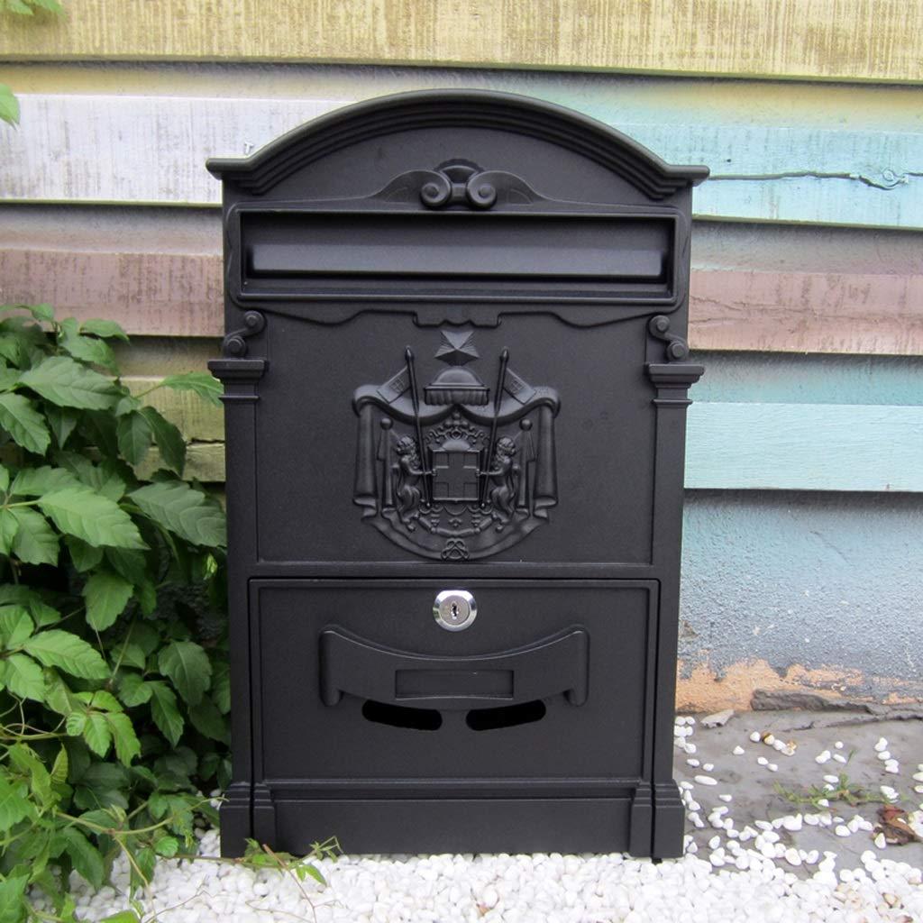 CKH ヨーロッパの貴族のサインヴィラレターボックス屋外防水レターボックス壁クリエイティブポストボックスとロックの提案箱レトロメールボックスブラック   B07J69V9ZS