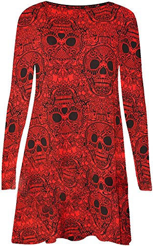 Halloween Skeleton Women Horror Club Wear Bodycon Longsleeve Swing Mid Dress Costumes Red Skulls S (Red Skull Costume)