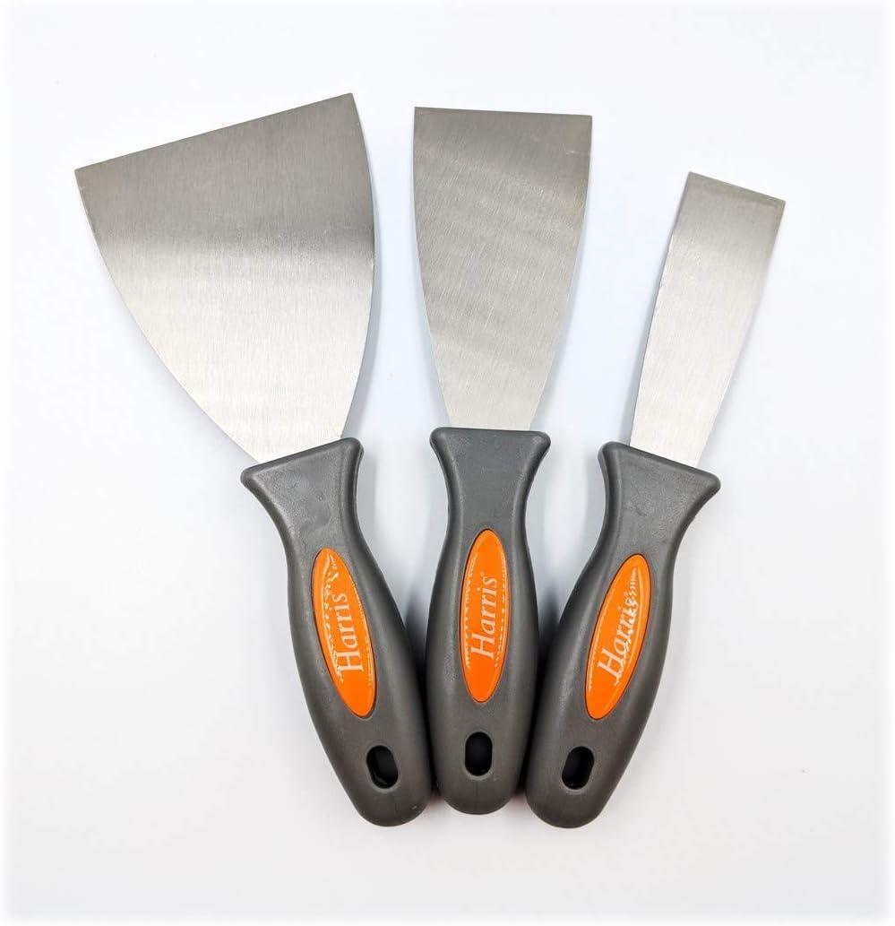 Werkzeugset mit drei Farbkratzern mit Kunststoffgriff und Metallschaber Harris Tapetenschaber