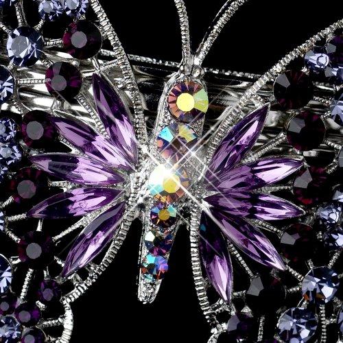 Marlena Silver Amethyst AB Rhinestone Butterfly Wedding Bridal Barrette - Special Occasion, Prom, Party by Fairytale Bridal Tiara (Image #1)