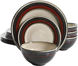 Gibson Elite Everston 12 Piece Dinnerware Set, Red
