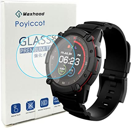 Poyiccot for PowerWatch 2 Screen Protector, 2Pack 0.3mm Ultra-Thin 9H Hardness Anti-Fingerprint Tempered Glass Screen Protector for Matrix PowerWatch ...