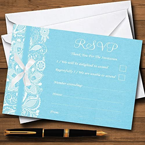Any Custom Text For Any occasion Wedding Invites Vintage Aqua Sky Blue Burlap /& Lace Personalised Wedding Invitations With Envelopes