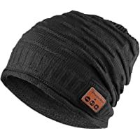 Tectri Winter Bluetooth Beanie, Wireless Knitted Hat Detachable Stereo Speakers & Microphone with Rechargeable USB Hands Free Talking and Listening Music Unisex for Fitness Sports
