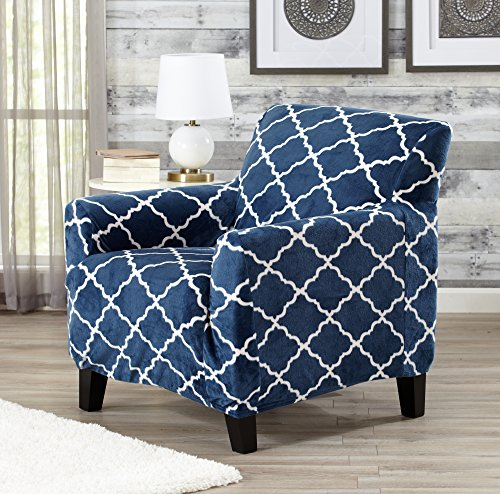 Comfortable Living Room Chairs (Modern Velvet Plush Strapless Slipcover. Form Fit Stretch, Stylish Furniture Shield / Protector. Magnolia Collection Strapless Slipcover by Great Bay Home Brand. (Chair, Navy))