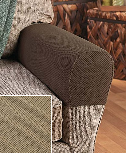 Set of 2 Stretch Armrest Covers (Tan) - Furniture Arm Covers