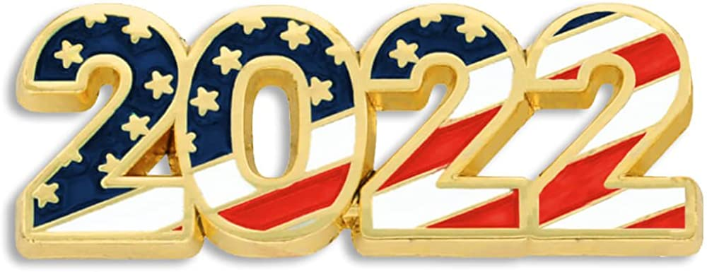 PinMart 2022 American Flag Patriotic Year Enamel Lapel Pin