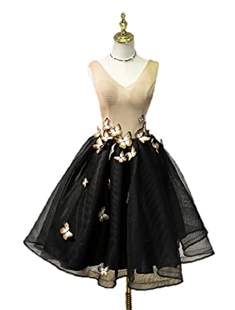 Lowime Women Juniors Short Butterfly Homecoming Dresses V-Neck Party Prom Dress Formal Gowns P12