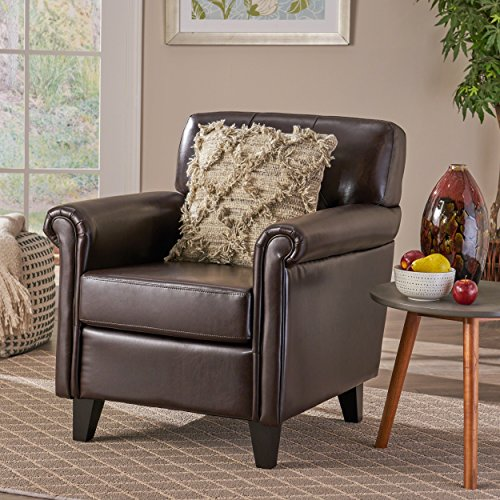 (Christopher Knight Home 238597 Benito Tufted Brown Leather Club Chair,)