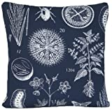 Navy Blue Decorative Pillow Case Ikea Material Printed Plants Botanica Cushion Cover