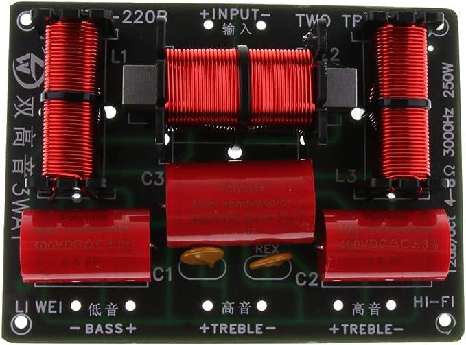 P Prettyia 250W Divisor de Frecuencia de Audio Subwoofer 3 Vías