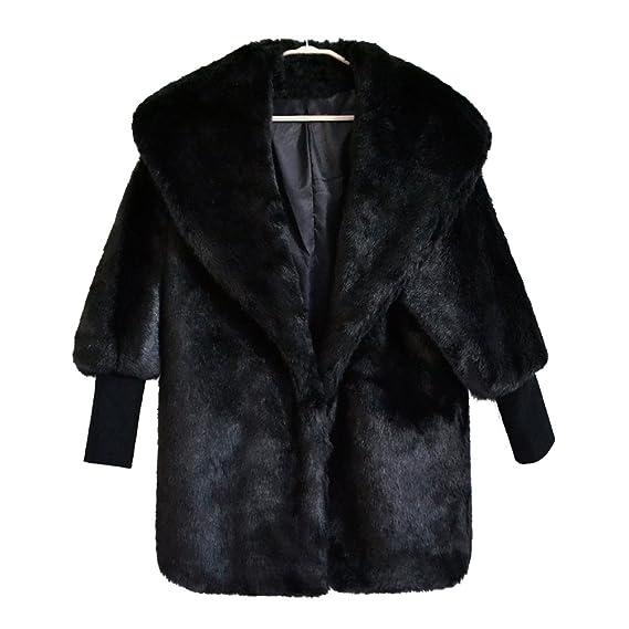 YuanDian Mujer Otoño Invierno Casual Solapa Ancha Tipo De Murciélago Mid Largo Baggy Abrigos De Pelo