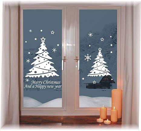 CMTOP Weihnachten Fenstersticker Abnehmbare Fensterdeko Statisch Haftende PVC Aufkleber Winter Dekoration Fensterbilder wei/ß