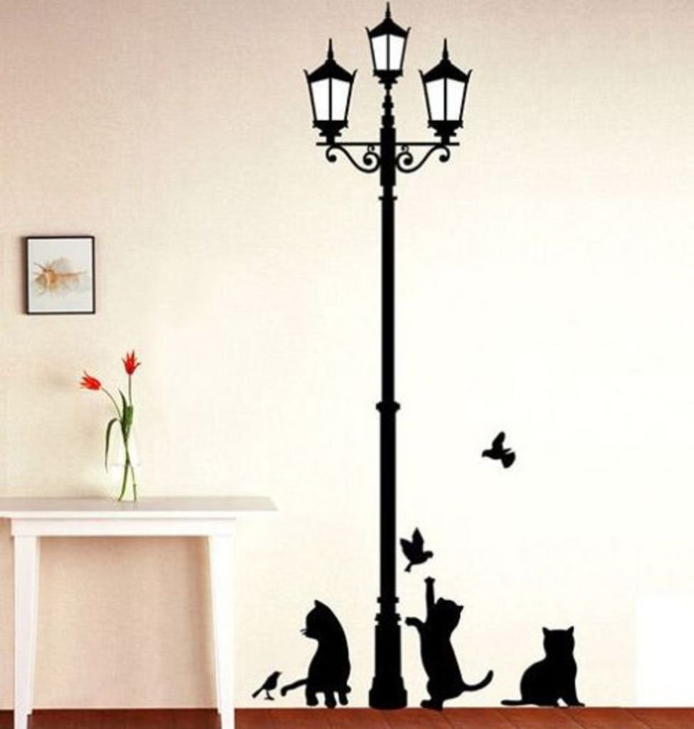 Buy Decals Design U0027Ancient Lamp And Catsu0027 Wall Sticker (PVC Vinyl, 60 Cm X  90 Cm, Black) Online At Low Prices In India   Amazon.in