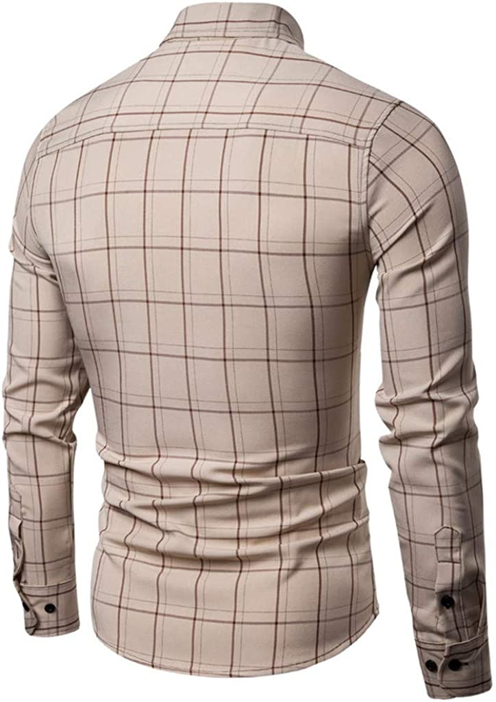 willsa Casual Business Striped Plaid Mens Fashion Business Leisure Plaid Printing Long-Sleeved Shirt Tops Blouse