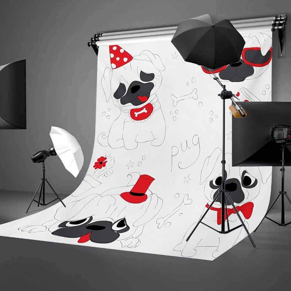 6.5x10 FT Photo Backdrops,Dogs in Various States Sad Happy Cool Excited Dog Bone Dotted Mug Caricature Style Background for Baby Shower Birthday Wedding Bridal Shower Party Decoration Photo Studio