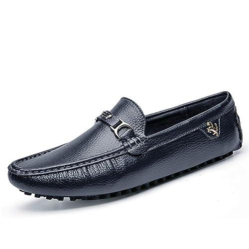 Moda Mocasines Hombre Piel de Microfibra Antideslizantes Trabajo Zapatos Náuticos,Azul 37 EU: Amazon.es: Zapatos y complementos