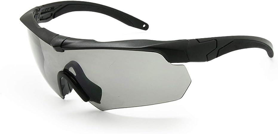 EnzoDate Balística militar gafas 3LS, 4LS o 5LS kit, gafas de sol del ejército polarizado de los hombres Eyeshield táctico (negro, 5 lentes (1 transición de 5))
