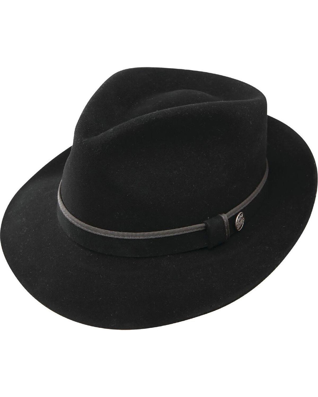 Stetson Men's Belfast Fur Felt Fedora Black 7 5/8