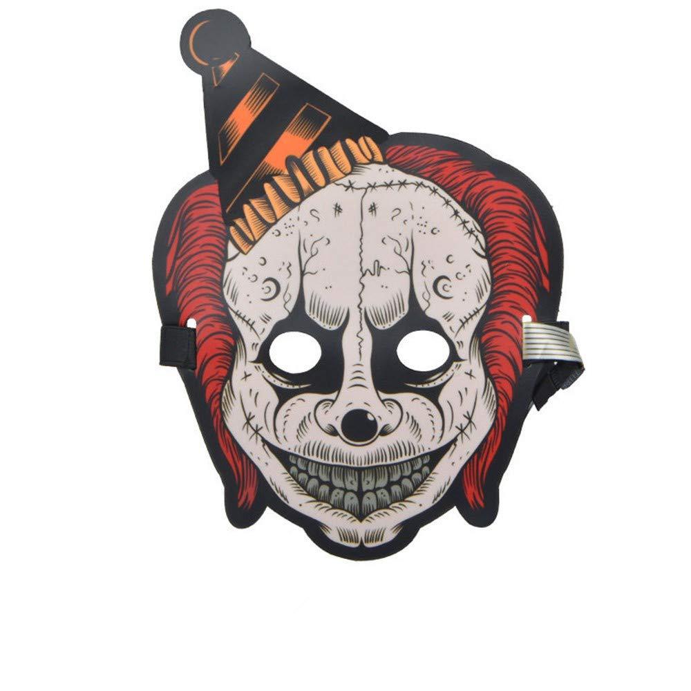 NUOKAI Belichtete Sprach-aktivierte grelle Maske Erwachsene Halloween-Horrornacht-Partei-Partei Leuchtstoff-LED-Maske, Clown 7
