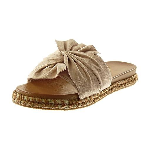 373db4e92b13 Angkorly - Chaussure Mode Sandale Mule Slip-on Femme Noeud Corde tréssé  Talon Plat 3