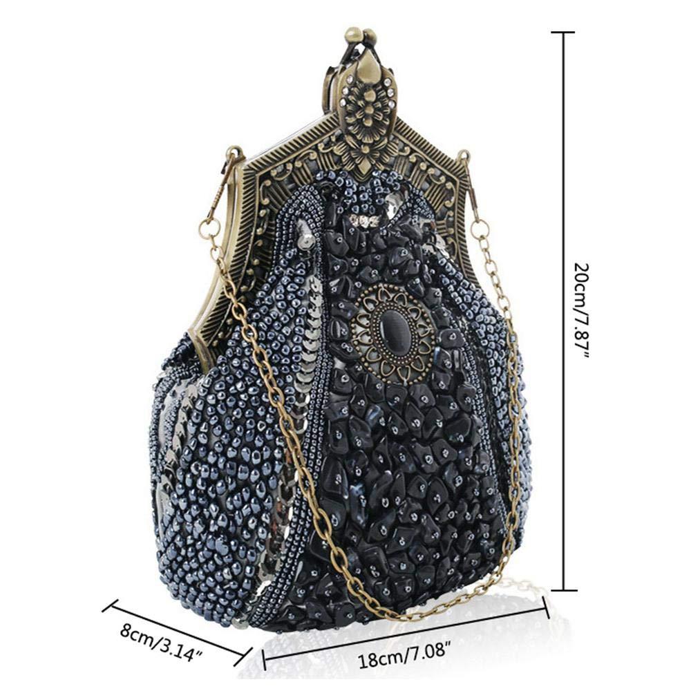 df75dede53 AOLVO Antique Perles Sac à Main Pochette de soirée pour Femme Filles Gris  Vintage Perles Sacs ...
