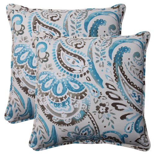 Outdoor Paisley Pillows Throw (Pillow Perfect Outdoor Paisley Corded Throw Pillow, 18.5-Inch, Tidepool, Set of 2)