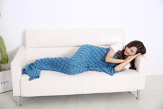9 opinioni per Calda e morbida coperta a forma di coda di sirena prodotta da Aiqi, artigianale,