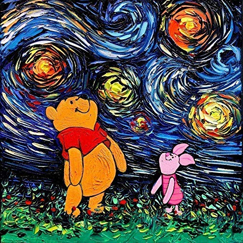 Cartoon bear baby room Art Print Poster Starry Night van Gogh Never Saw Hundred Acre Wood by Aja choose size and type of paper