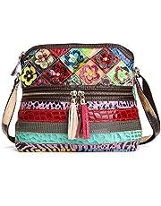 Mehrfarbig Floral Umhängetasche Damen, OURBAG Rindsleder Modische Handtasche Frauen Schultertasche Groß