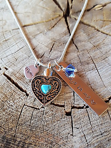 Custom Hand Stamp Cremation Jewelry Vintage Turquoise Heart Urn Necklace Always In My Heart with Swarovski Birthstone - Turquoise Heart Locket